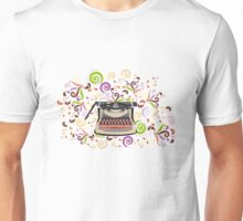 Creative typewriter in retro style with colorful swirls Unisex T-Shirt