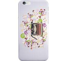 Creative typewriter in retro style with colorful swirls iPhone Case/Skin