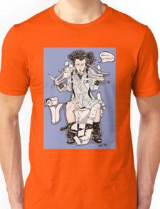 Scissorhands in trouble (blue background) Unisex T-Shirt