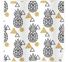 Triangle pineapple with glitter shapes on white. Poster