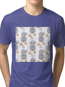 Triangle pineapple with glitter shapes on white. Tri-blend T-Shirt