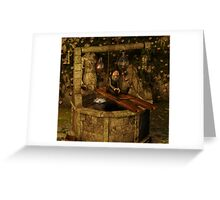 The Old Wishing Well And The Sleepy Gnome Greeting Card