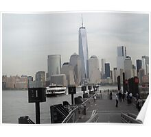 Waiting For a Ferry to Manhattan, Hudson River, Jersey City, New Jersey Poster