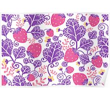 Yummy strawberries pattern Poster