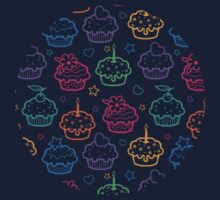 Colorful doodle cupcakes pattern Baby Tee