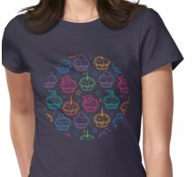 Colorful doodle cupcakes pattern Womens Fitted T-Shirt
