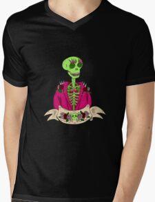 Spooky Stylish Skeleton Mens V-Neck T-Shirt