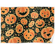 Fun Halloween pumpkins pattern Poster