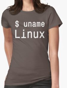 uname Linux - The only true answer - White on Black Design Womens Fitted T-Shirt