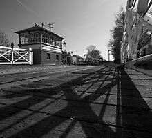 Railway Crossing & Signal Box B&W by Simon Lawrence