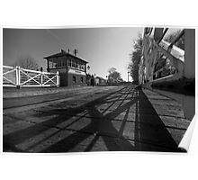 Railway Crossing & Signal Box B&W Poster
