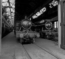Steam Locomotive B&W IV by Simon Lawrence