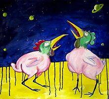 chickens eat stars..  by Rado van Sensel