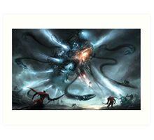 Mech Dragon Battle Art Print