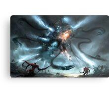 Mech Dragon Battle Metal Print