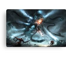 Mech Dragon Battle Canvas Print