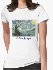 Vincent Van Gogh – Starry Night Womens Fitted T-Shirt