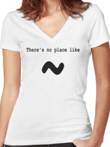 There's no place like ~ for Computer Geeks - Black on White Women's Fitted V-Neck T-Shirt