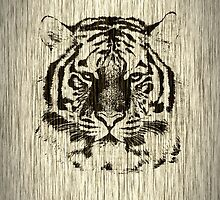 Tiger on Wood Grain by Nhan Ngo