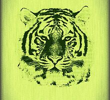 Tiger on Green Wood Grain  by Nhan Ngo