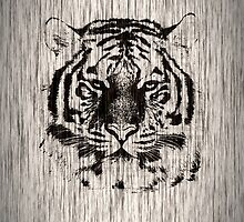 Tiger on Gray Wood Grain by Nhan Ngo