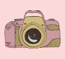 DSLR Camera Pink Doodle Illustration Drawing Tshirt Sticker One Piece - Long Sleeve