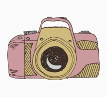 DSLR Camera Pink Doodle Illustration Drawing Tshirt Sticker by Pip Gerard