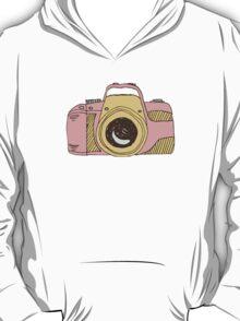 DSLR Camera Pink Doodle Illustration Drawing Tshirt Sticker T-Shirt
