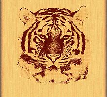 Tiger on Brown Orange Wood Grain  by Nhan Ngo