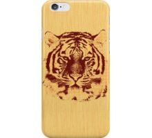 Tiger on Brown Orange Wood Grain  iPhone Case/Skin