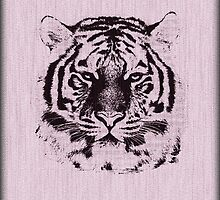 Tiger on Wood Grain 2 by Nhan Ngo