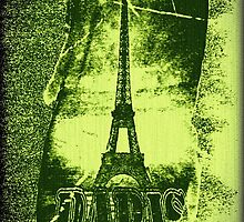 Vintage Green Paris Eiffel Tower  by Nhan Ngo