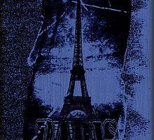 Vintage Blue Paris Eiffel Tower  by Nhan Ngo