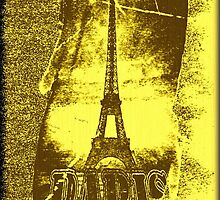 Vintage Yellow Paris Eiffel Tower  by Nhan Ngo