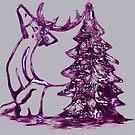 Christmas Reindeer and Tree by Dawn B Davies-McIninch