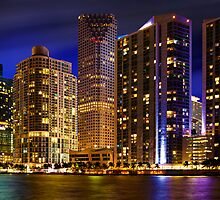 Miami Skyline at Night by DDMITR