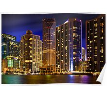 Miami Skyline at Night Poster