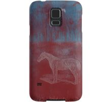 lonely horse in the red field, flying birds, blue, red Samsung Galaxy Case/Skin