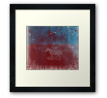 lonely horse in the red field, flying birds, blue, red Framed Print
