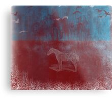 lonely horse in the red field, flying birds, blue, red Metal Print