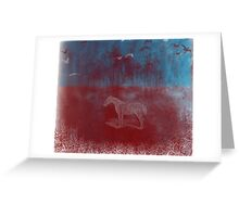 lonely horse in the red field, flying birds, blue, red Greeting Card