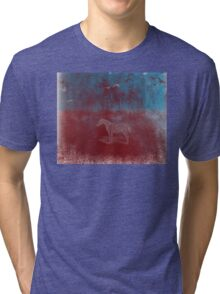 lonely horse in the red field, flying birds, blue, red Tri-blend T-Shirt