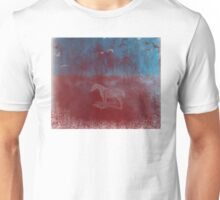 lonely horse in the red field, flying birds, blue, red Unisex T-Shirt