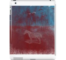 lonely horse in the red field, flying birds, blue, red iPad Case/Skin