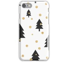 Gold shimmer glitter polka dot and black tree forest. iPhone Case/Skin