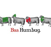 Baa humbug sheep knitting crochet Christmas card by BigMRanch