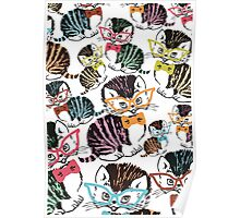Cute kitten cat bow tie glasses Poster