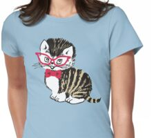 Cute kitten cat bow tie glasses Womens Fitted T-Shirt