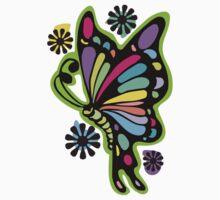 Rainbow color butterflies hippie flowers One Piece - Short Sleeve