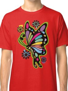 Rainbow color butterflies hippie flowers Classic T-Shirt
